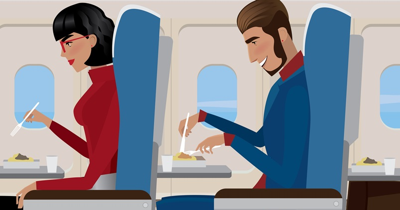 Cuidados com a alimentação durante o voo